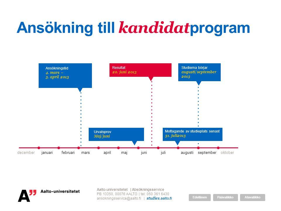 Ansökning till kandidat program decemberjanuarifebruarimarsaprilmajjunijuliaugustiseptemberoktober Resultat 20. juni 2013 Aalto-universitetet | Absökn