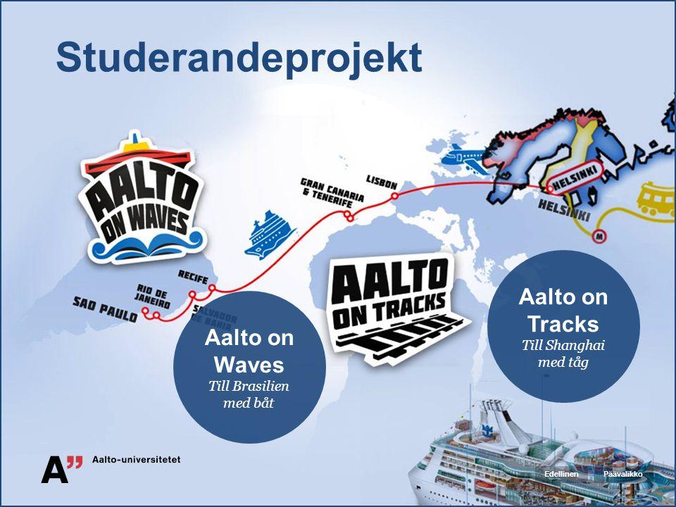 Studerandeprojekt Aalto on Tracks Till Shanghai med tåg Aalto on Waves Till Brasilien med båt PäävalikkoEdellinen