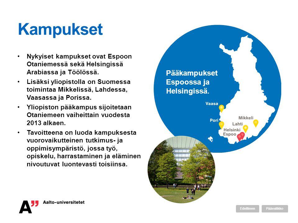 Kampukset Nykyiset kampukset ovat Espoon Otaniemessä sekä Helsingissä Arabiassa ja Töölössä. Lisäksi yliopistolla on Suomessa toimintaa Mikkelissä, La