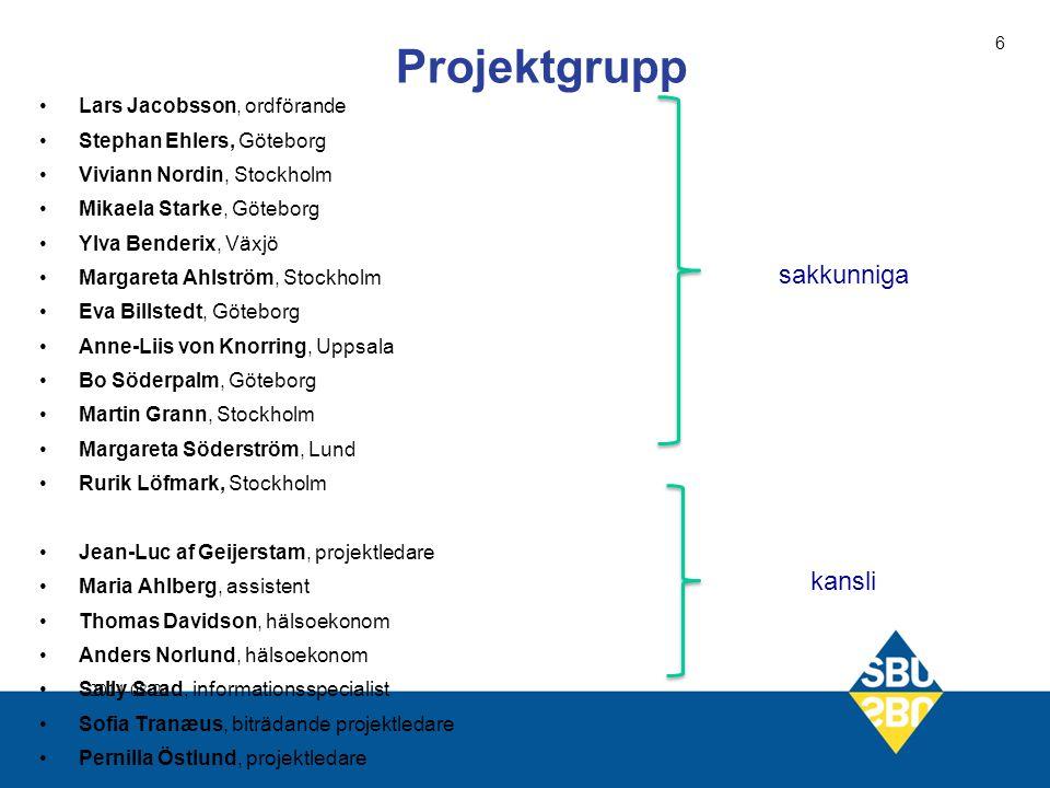 Sakkunniga: Bengt Mattsson, professor (ordförande) bengt.mattsson@allmed.gu.se Lennart Lundin, leg psykolog lennart.lundin@vgregion.se Rurik Löfmark, etiker rurik.lofmark@telia.com Svenny Kopp, barnpsykiater svenny.kopp@vgregion.se Från SBU Sophie Werkö, projektledare werko@sbu.se Sofia Tranaeus, bitr projektledare traneus@sbu.se Elisabeth Gustafsson, projektassistent gustafsson@sbu.se Projektgruppen 2014-08-21 17