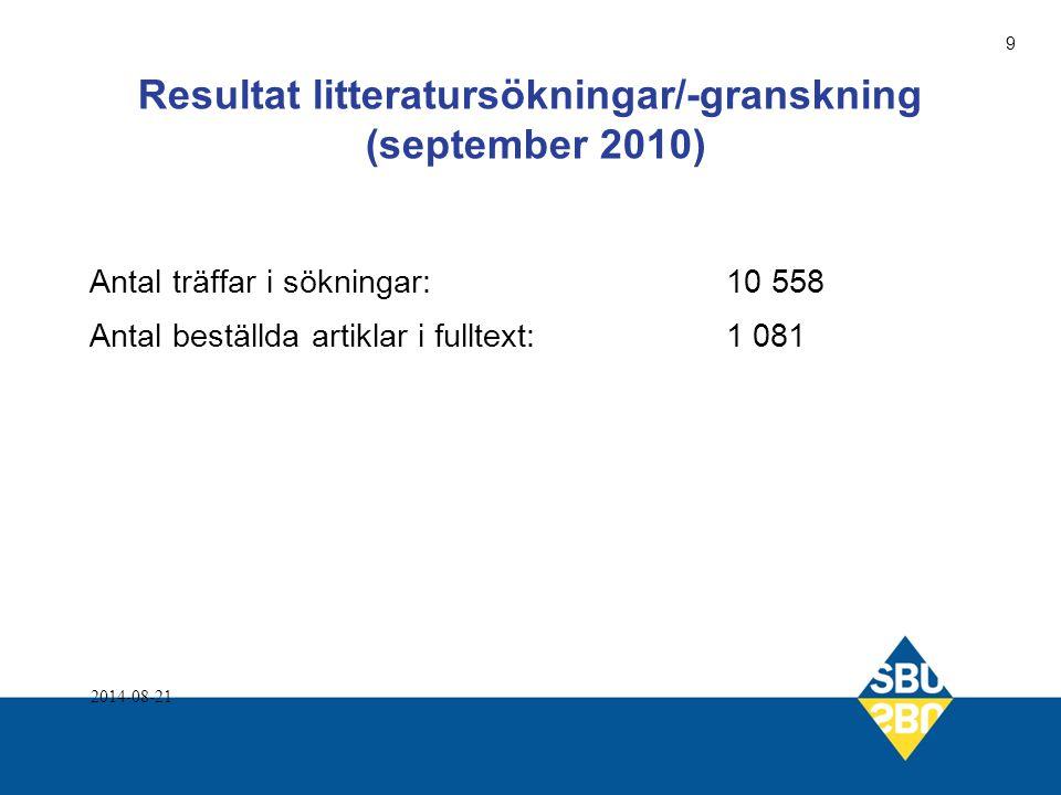 Resultat litteratursökningar/-granskning (september 2010) Antal träffar i sökningar:10 558 Antal beställda artiklar i fulltext:1 081 2014-08-21 9
