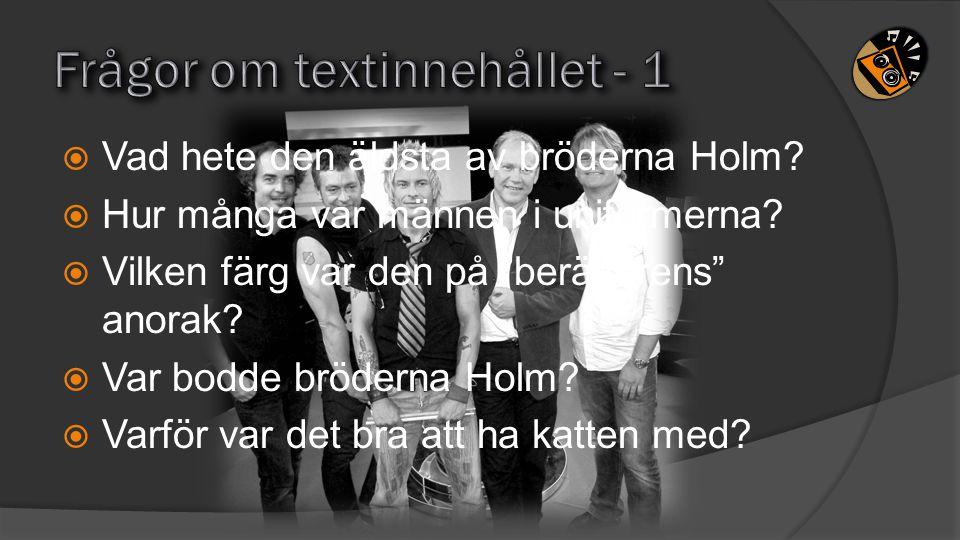 """ Vad hete den äldsta av bröderna Holm?  Hur många var männen i uniformerna?  Vilken färg var den på """"berättarens"""" anorak?  Var bodde bröderna Holm"""