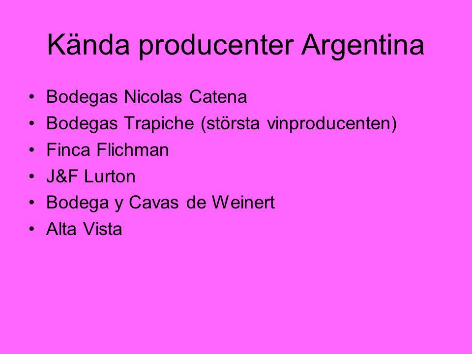 Kända producenter Argentina Bodegas Nicolas Catena Bodegas Trapiche (största vinproducenten) Finca Flichman J&F Lurton Bodega y Cavas de Weinert Alta