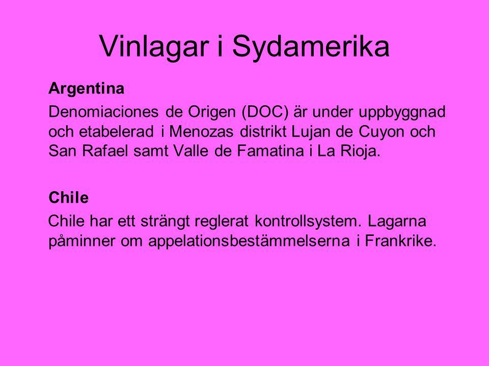 Vinlagar i Sydamerika Argentina Denomiaciones de Origen (DOC) är under uppbyggnad och etabelerad i Menozas distrikt Lujan de Cuyon och San Rafael samt