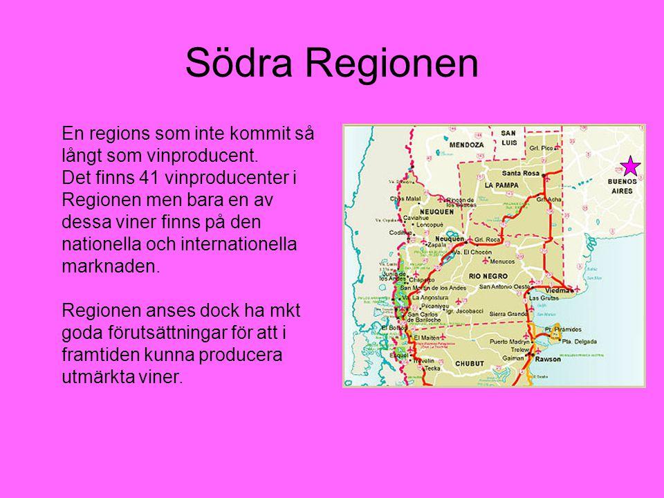 Södra Regionen En regions som inte kommit så långt som vinproducent. Det finns 41 vinproducenter i Regionen men bara en av dessa viner finns på den na