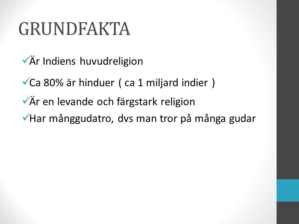 GRUNDFAKTA Är Indiens huvudreligion Ca 80% är hinduer ( ca 1 miljard indier ) Är en levande och färgstark religion Har månggudatro, dvs man tror på må