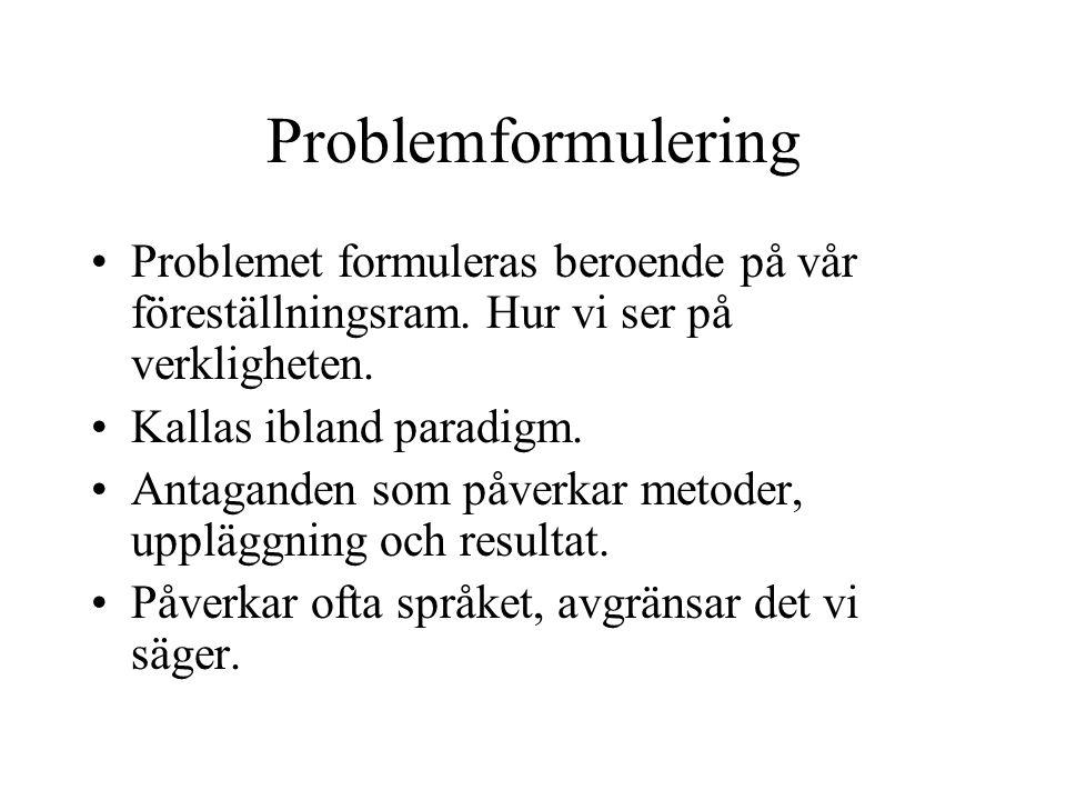 Problemformulering Problemet formuleras beroende på vår föreställningsram.