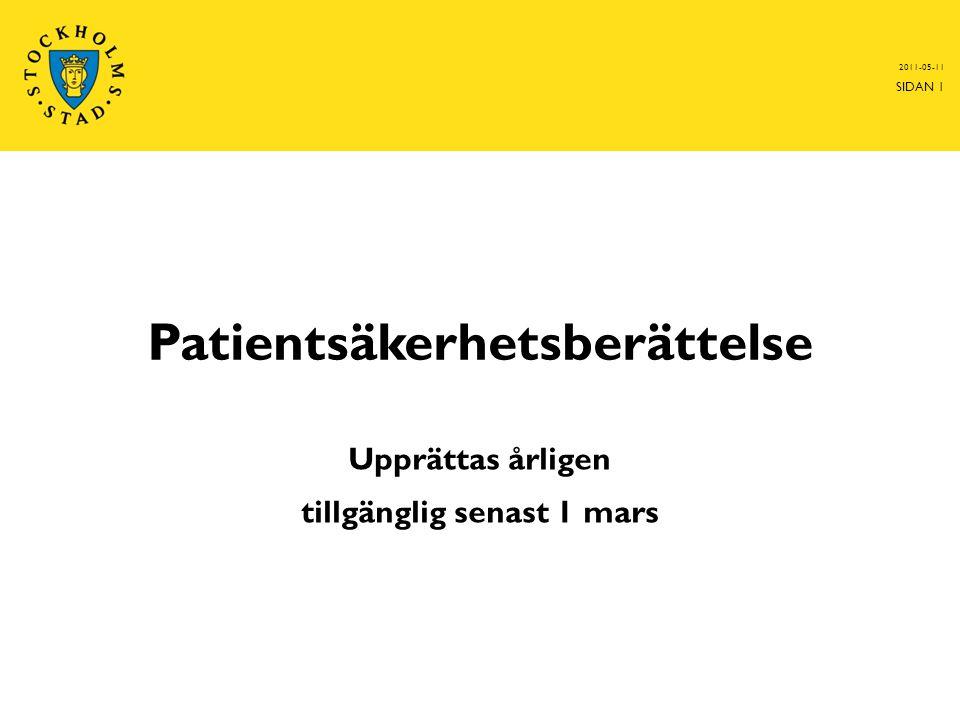 Patientsäkerhetsberättelse Upprättas årligen tillgänglig senast 1 mars 2011-05-11 SIDAN 1
