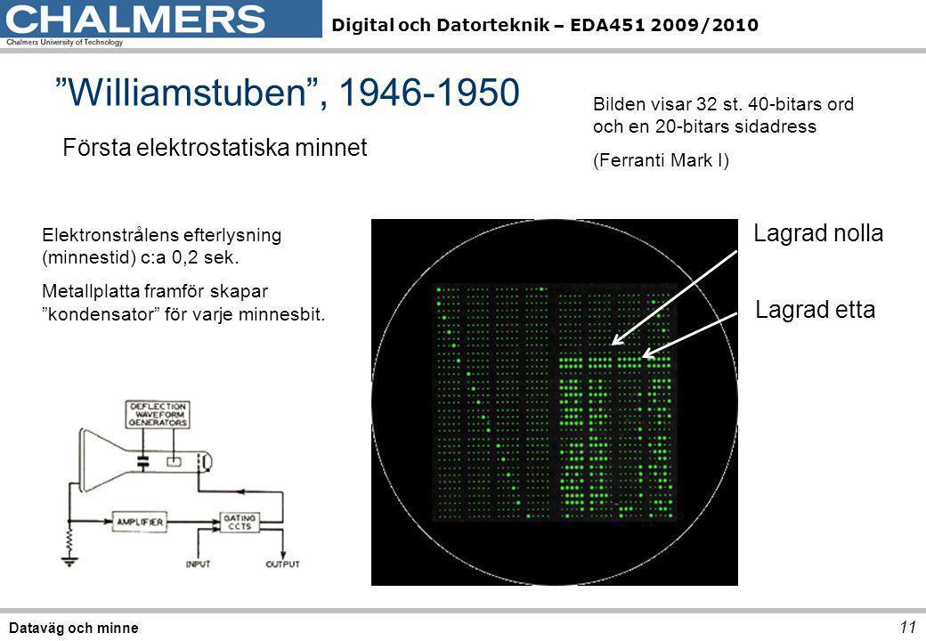"""Digital och Datorteknik – EDA451 2009/2010 """"Williamstuben"""", 1946-1950 11 Dataväg och minne Första elektrostatiska minnet Lagrad nolla Lagrad etta Bild"""