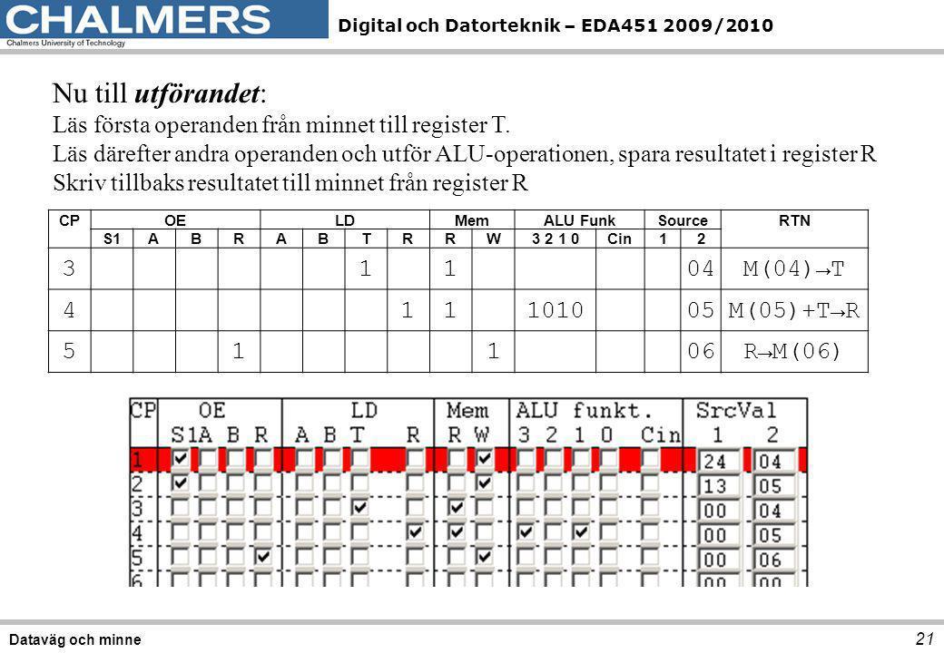 Digital och Datorteknik – EDA451 2009/2010 21 Dataväg och minne Nu till utförandet: Läs första operanden från minnet till register T. Läs därefter and