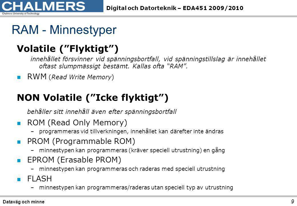 Digital och Datorteknik – EDA451 2009/2010 n Skriv/läs-minnen, kallas ibland dataminne –Williamstub –Kärnminnen –Halvledarminnen, SRAM/DRAM n Läs-minnen, kallas ibland Programminne –Halvledarminne, ROM –Halvledarminne, EPROM –Halvledarminne, FLASH Snabb tillbakablick 10 Dataväg och minne