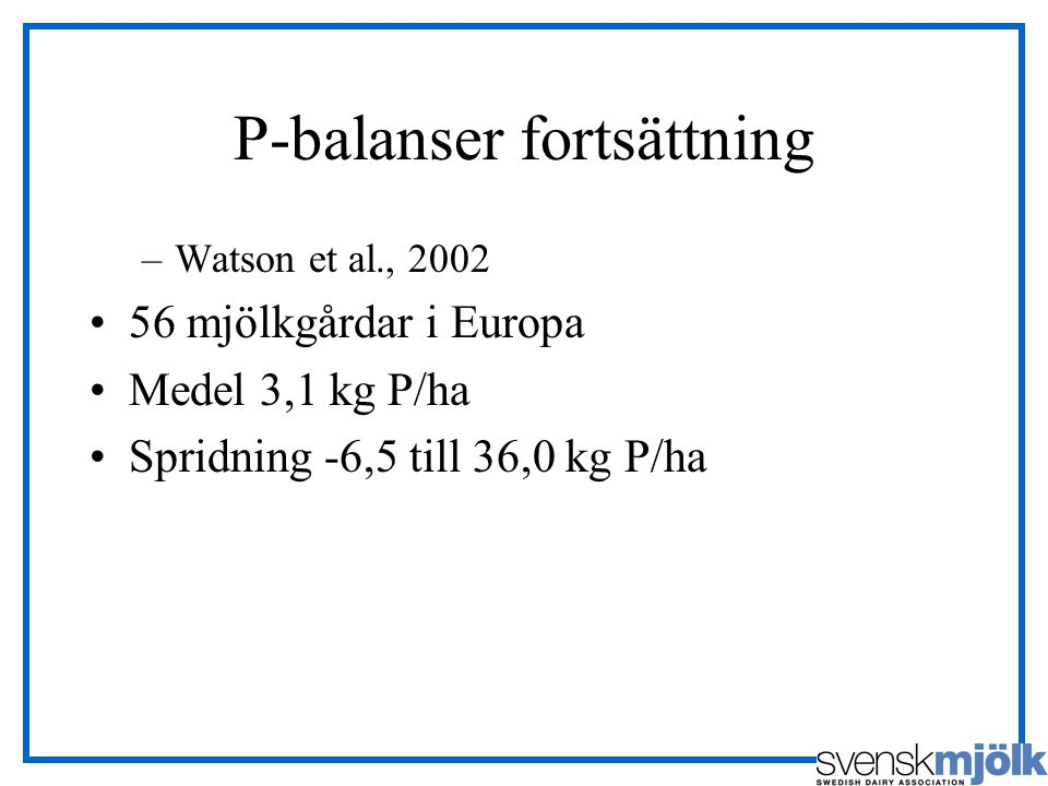 P-balanser fortsättning –Watson et al., 2002 56 mjölkgårdar i Europa Medel 3,1 kg P/ha Spridning -6,5 till 36,0 kg P/ha