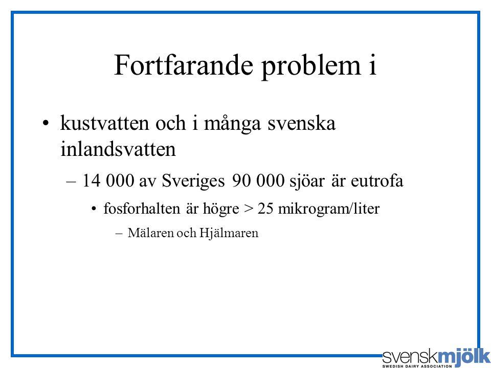 Fortfarande problem i kustvatten och i många svenska inlandsvatten –14 000 av Sveriges 90 000 sjöar är eutrofa fosforhalten är högre > 25 mikrogram/li