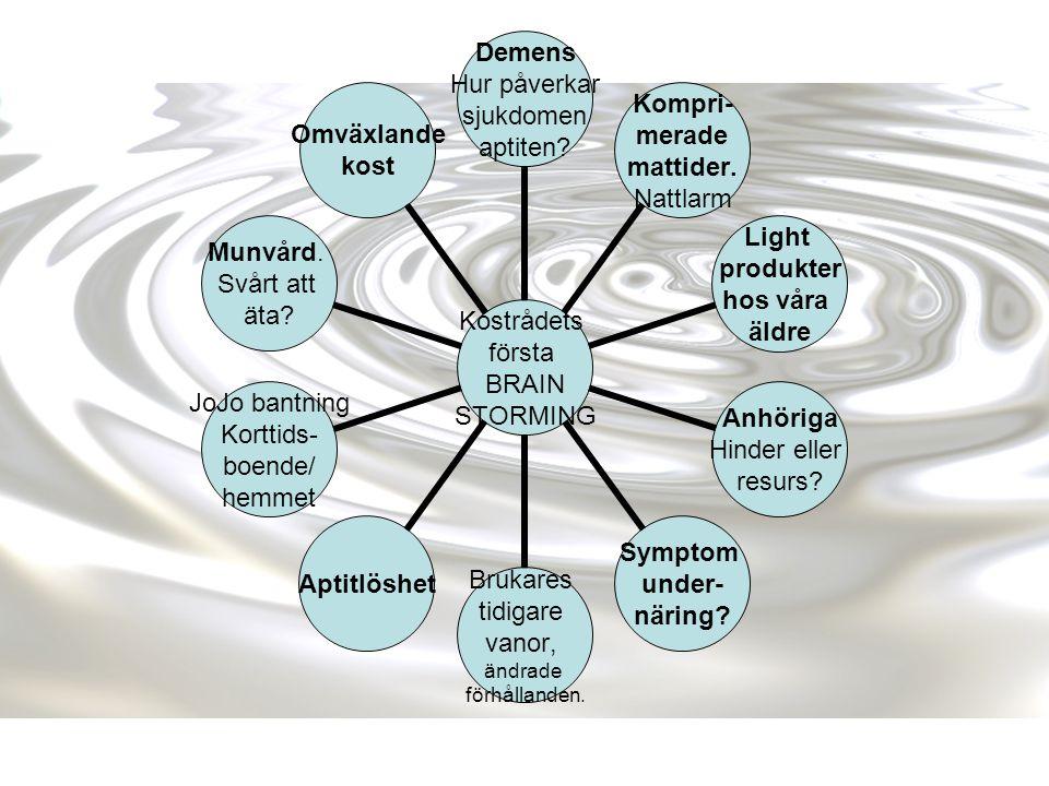 Kostrådets första BRAIN STORMING Demens Hur påverkar sjukdomen aptiten? Kompri- merade mattider. Nattlarm Light produkter hos våra äldre Anhöriga Hind