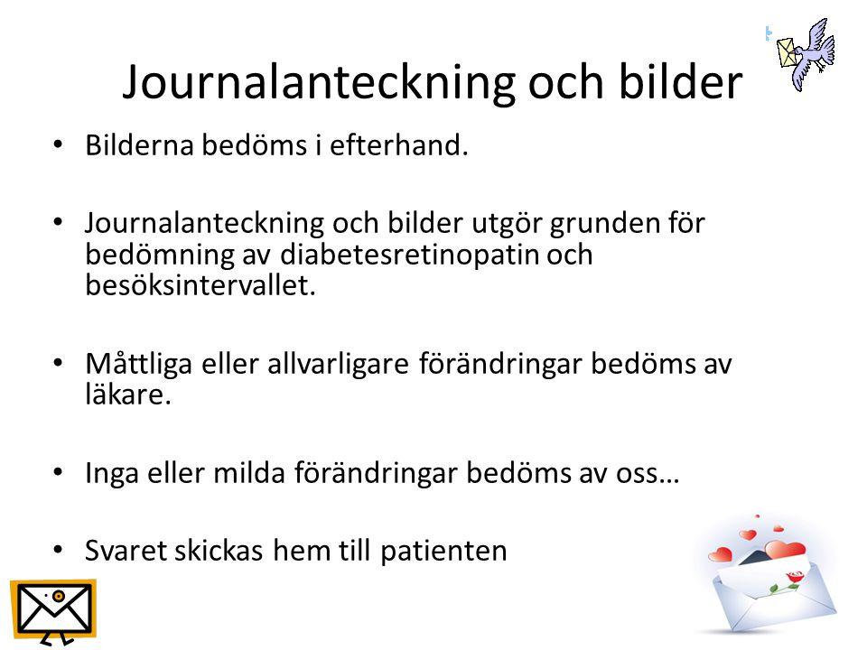 Journalanteckning och bilder Bilderna bedöms i efterhand.