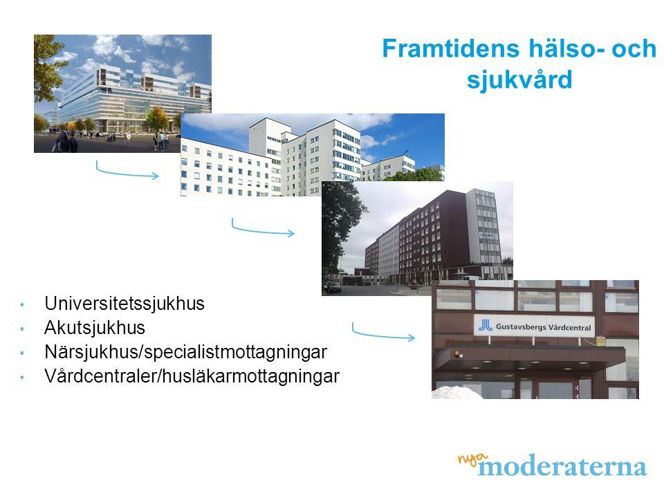 Universitetssjukhus Akutsjukhus Närsjukhus/specialistmottagningar Vårdcentraler/husläkarmottagningar Framtidens hälso- och sjukvård