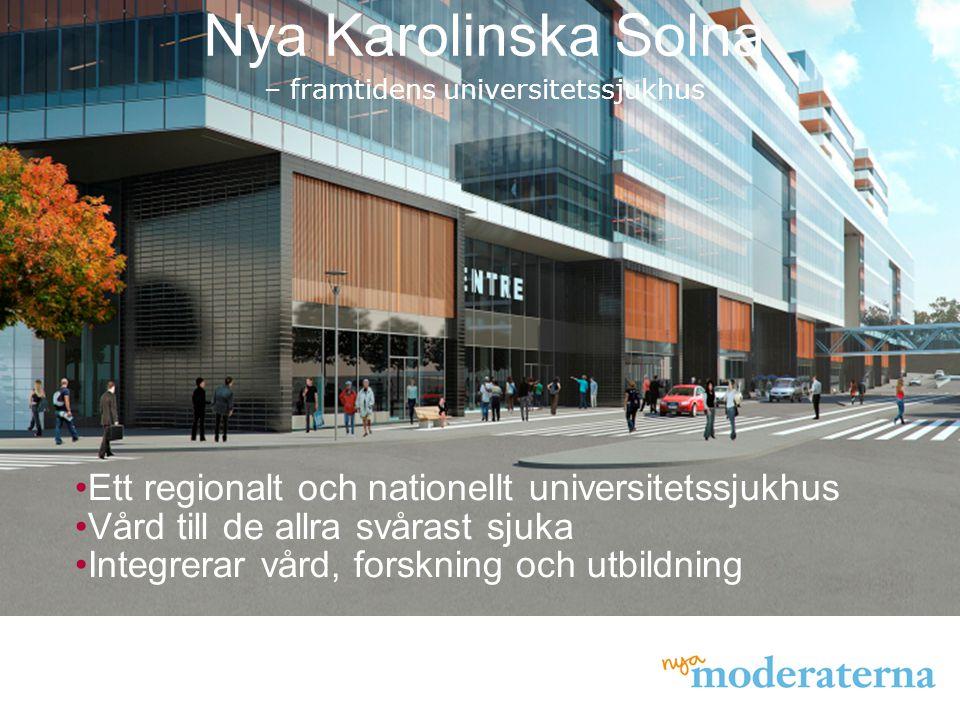 Nya Karolinska Solna – framtidens universitetssjukhus Ett regionalt och nationellt universitetssjukhus Vård till de allra svårast sjuka Integrerar vår