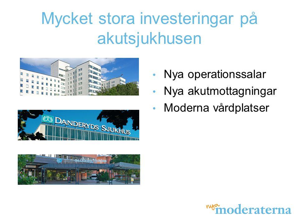 Mycket stora investeringar på akutsjukhusen Nya operationssalar Nya akutmottagningar Moderna vårdplatser