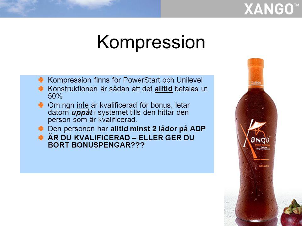 Kompression Kompression finns för PowerStart och Unilevel Konstruktionen är sådan att det alltid betalas ut 50% Om ngn inte är kvalificerad för bonus,