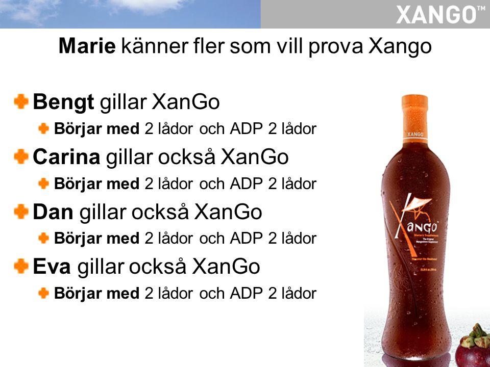 Marie känner fler som vill prova Xango Bengt gillar XanGo Börjar med 2 lådor och ADP 2 lådor Carina gillar också XanGo Börjar med 2 lådor och ADP 2 lå