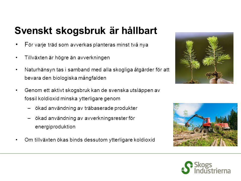 Svenskt skogsbruk är hållbart F ör varje träd som avverkas planteras minst två nya Tillväxten är högre än avverkningen Naturhänsyn tas i samband med a