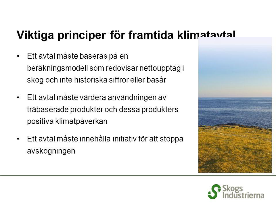 Viktiga principer för framtida klimatavtal Ett avtal måste baseras på en beräkningsmodell som redovisar nettoupptag i skog och inte historiska siffror