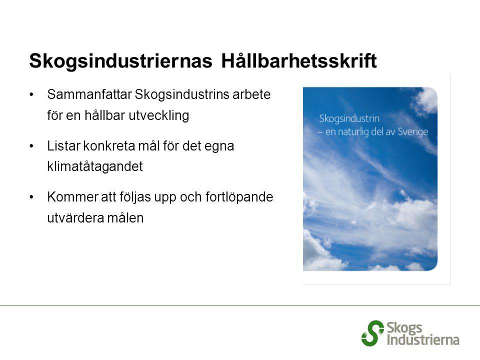 Skogsindustriernas Hållbarhetsskrift Sammanfattar Skogsindustrins arbete för en hållbar utveckling Listar konkreta mål för det egna klimatåtagandet Ko