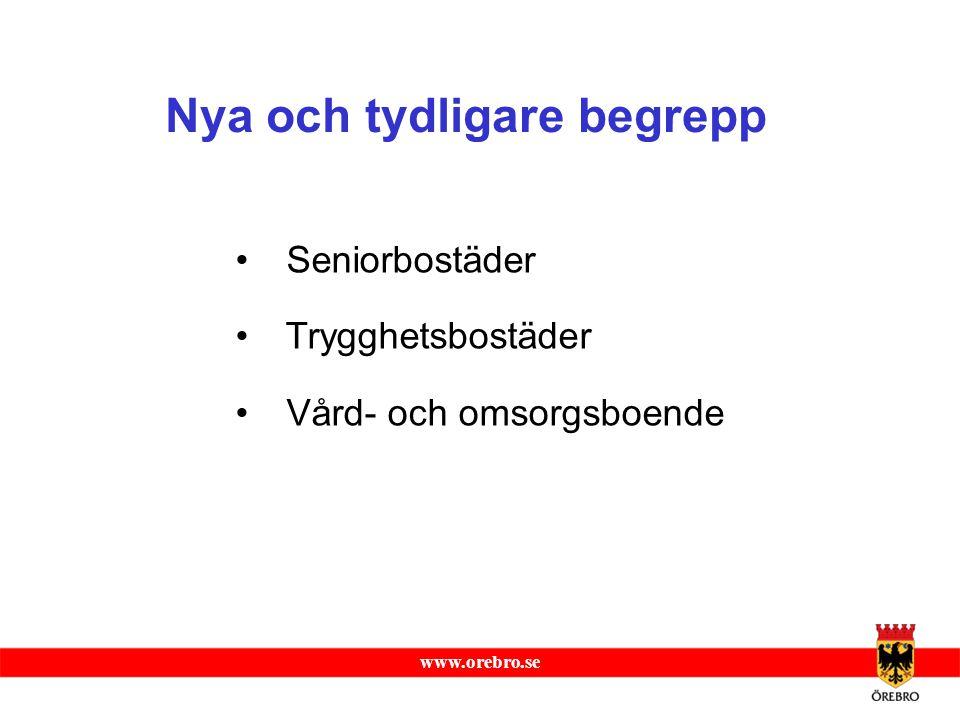 www.orebro.se Seniorbostäder Trygghetsbostäder Vård- och omsorgsboende Nya och tydligare begrepp