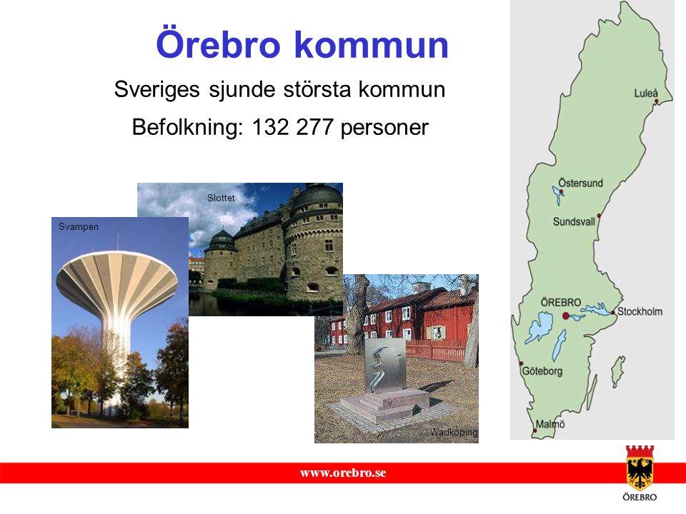 www.orebro.se Allmänt om Örebro Area: 1 380 km 2 Läge: Mitt i Sveriges befolkningsmässiga centrum med ca 20 mil till Stockholm och ca 30 mil till Göteborg.
