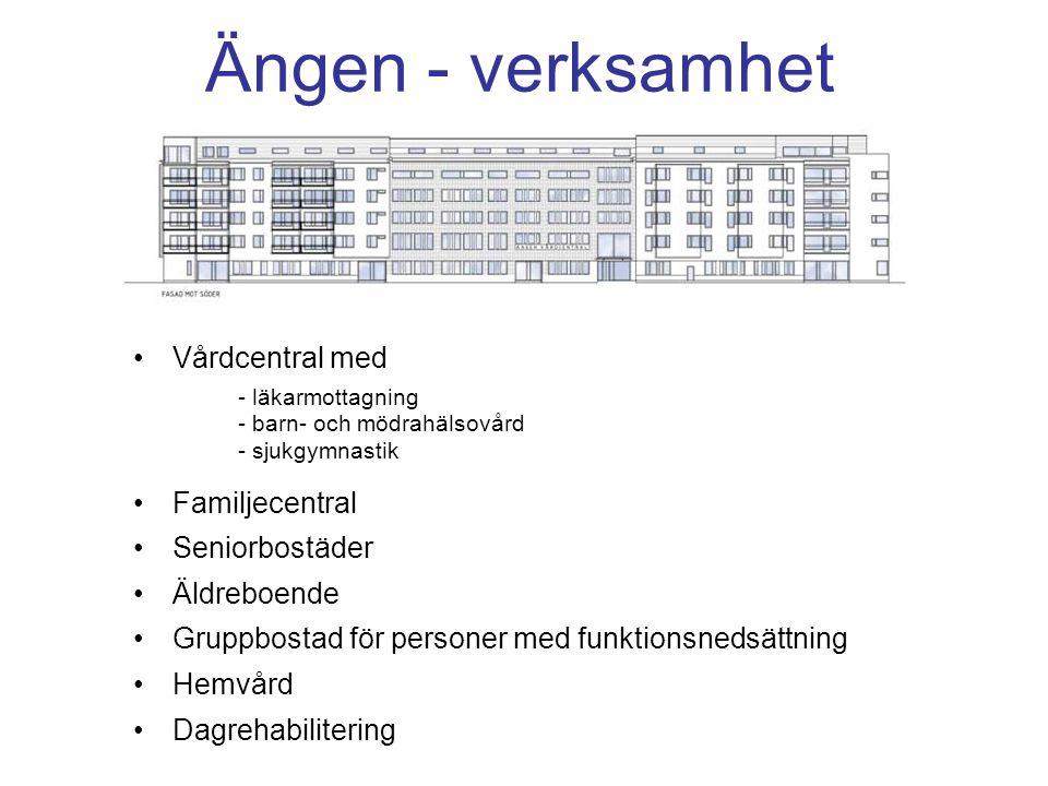 Ängen - verksamhet Vårdcentral med - läkarmottagning - barn- och mödrahälsovård - sjukgymnastik Familjecentral Seniorbostäder Äldreboende Gruppbostad