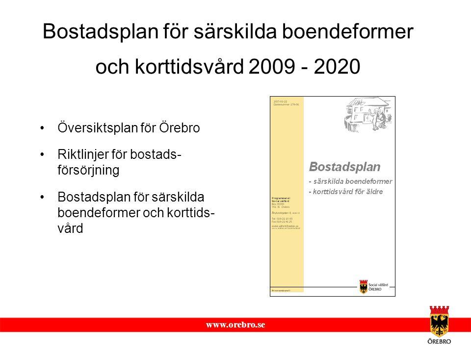 www.orebro.se Bostadsplan för särskilda boendeformer och korttidsvård 2009 - 2020 Översiktsplan för Örebro Riktlinjer för bostads- försörjning Bostads