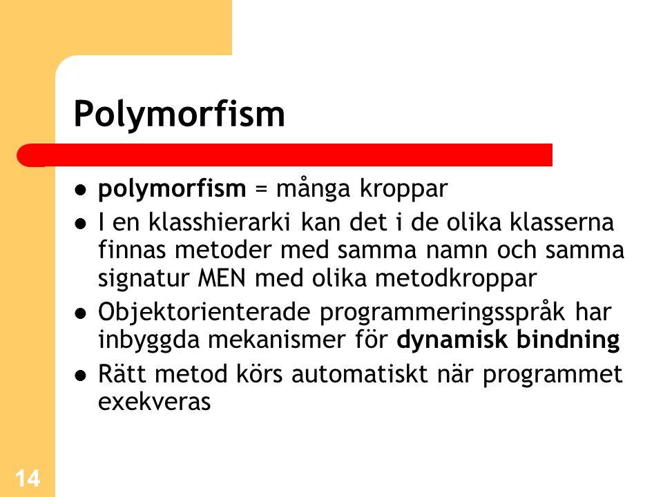 14 Polymorfism polymorfism = många kroppar I en klasshierarki kan det i de olika klasserna finnas metoder med samma namn och samma signatur MEN med olika metodkroppar Objektorienterade programmeringsspråk har inbyggda mekanismer för dynamisk bindning Rätt metod körs automatiskt när programmet exekveras