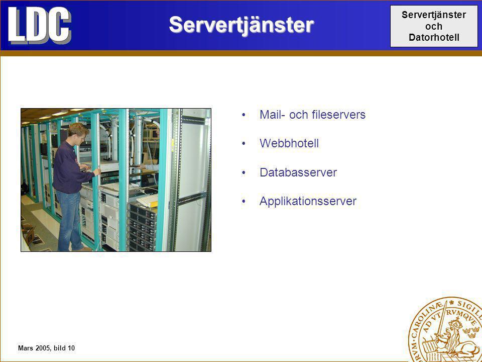 Mars 2005, bild 10Servertjänster Mail- och fileservers Webbhotell Databasserver Applikationsserver ServertjänsterochDatorhotell
