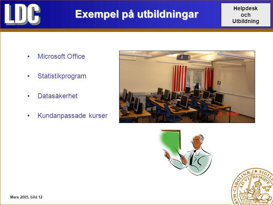 Mars 2005, bild 12 Exempel på utbildningar Microsoft Office Statistikprogram Datasäkerhet Kundanpassade kurser HelpdeskochUtbildning