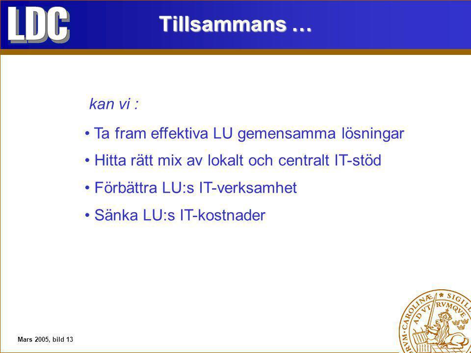 Mars 2005, bild 13 Tillsammans … kan vi : Ta fram effektiva LU gemensamma lösningar Hitta rätt mix av lokalt och centralt IT-stöd Förbättra LU:s IT-verksamhet Sänka LU:s IT-kostnader