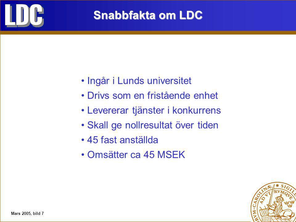 Mars 2005, bild 7 Snabbfakta om LDC Ingår i Lunds universitet Drivs som en fristående enhet Levererar tjänster i konkurrens Skall ge nollresultat över tiden 45 fast anställda Omsätter ca 45 MSEK