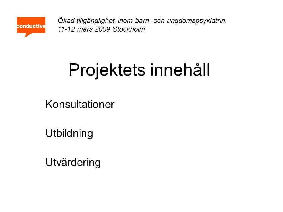 Projektets innehåll Konsultationer Utbildning Utvärdering Ökad tillgänglighet inom barn- och ungdomspsykiatrin, 11-12 mars 2009 Stockholm