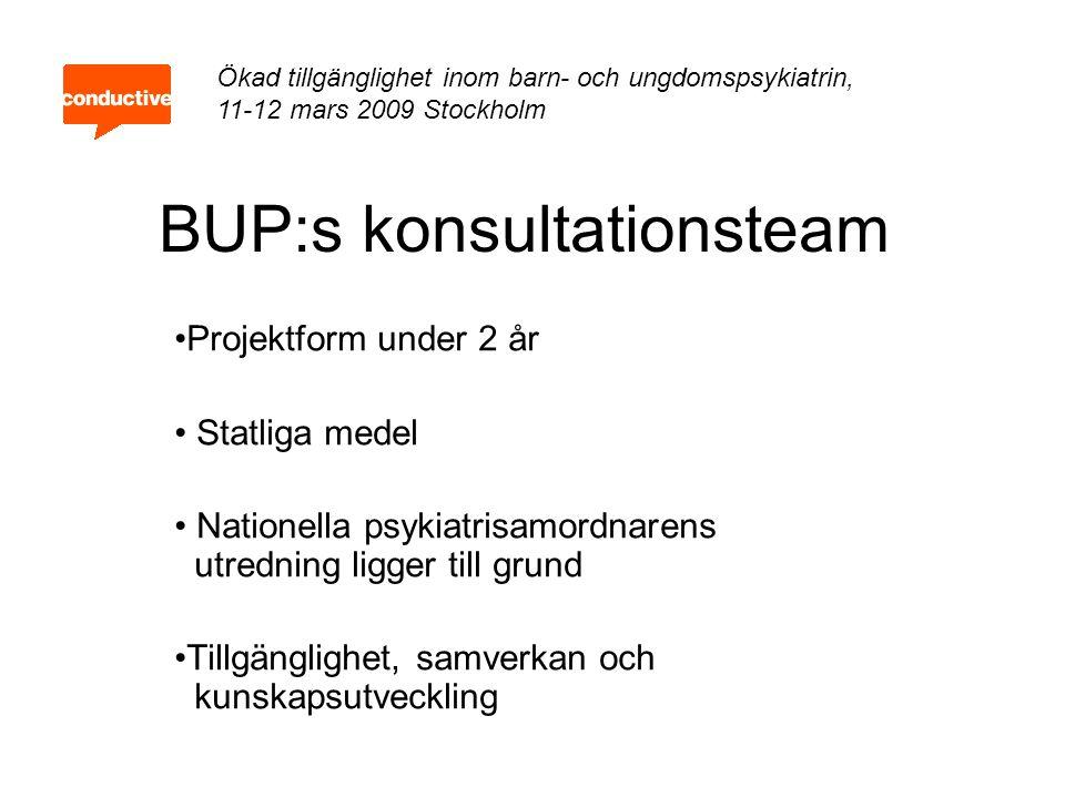 BUP:s konsultationsteam Projektform under 2 år Statliga medel Nationella psykiatrisamordnarens utredning ligger till grund Tillgänglighet, samverkan o