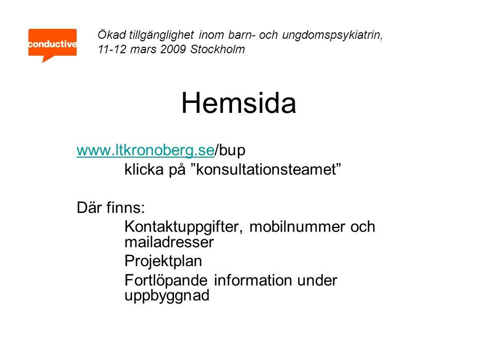 """Hemsida www.ltkronoberg.sewww.ltkronoberg.se/bup klicka på """"konsultationsteamet"""" Där finns: Kontaktuppgifter, mobilnummer och mailadresser Projektplan"""