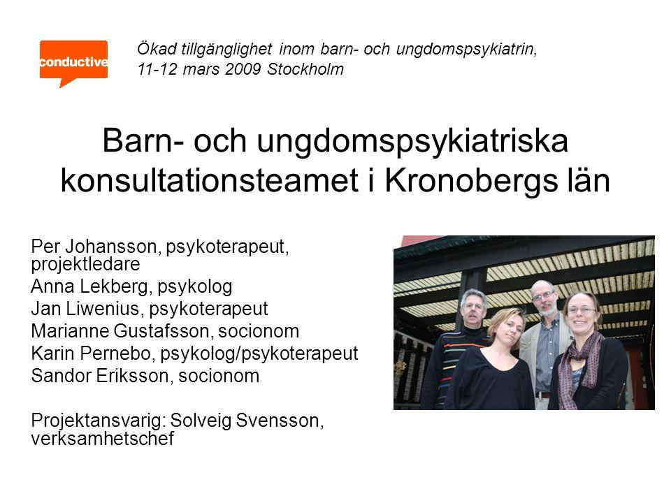 Barn- och ungdomspsykiatriska konsultationsteamet i Kronobergs län Per Johansson, psykoterapeut, projektledare Anna Lekberg, psykolog Jan Liwenius, ps