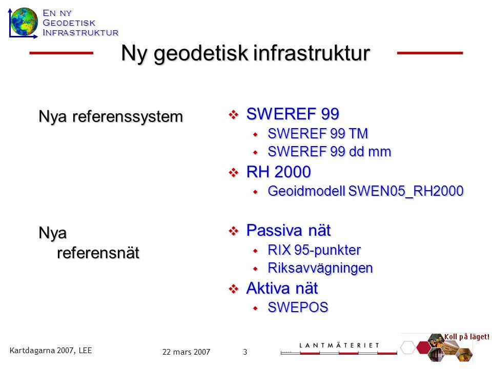 En ny GeodetiskInfrastruktur Kartdagarna 2007, LEE 22 mars 20073 Nya referenssystem  SWEREF 99  SWEREF 99 TM  SWEREF 99 dd mm  RH 2000  Geoidmode