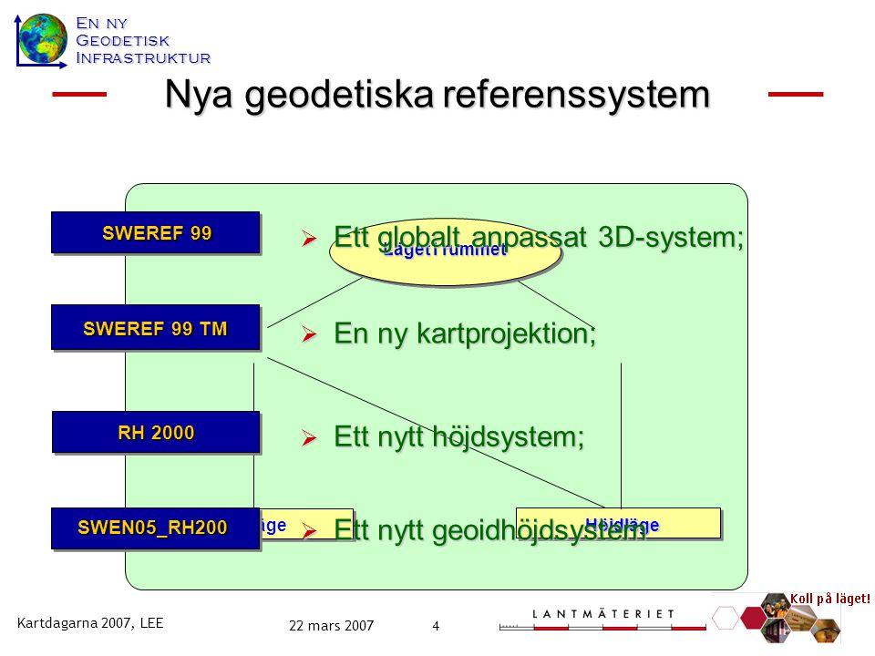 En ny GeodetiskInfrastruktur Kartdagarna 2007, LEE 22 mars 20074 Läget i rummet PlanlägeHöjdläge  Ett nytt geoidhöjdsystem Ny geodetisk infrastruktur  Ett nytt höjdsystem;  En ny kartprojektion; SWEN05_RH200 SWEREF 99 TM RH 2000 SWEREF 99 Nya geodetiska referenssystem  Ett globalt anpassat 3D-system;
