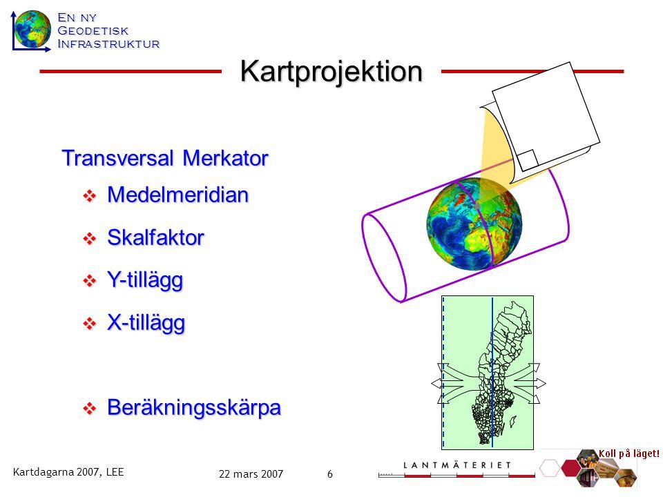 En ny GeodetiskInfrastruktur Kartdagarna 2007, LEE 22 mars 20076 Transversal Merkator  Medelmeridian  Skalfaktor  Y-tillägg  X-tillägg  Beräkningsskärpa Kartprojektion