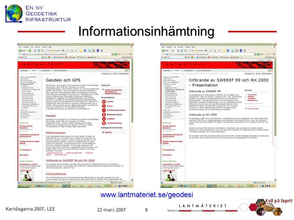 En ny GeodetiskInfrastruktur Kartdagarna 2007, LEE 22 mars 20079 www.lantmateriet.se/refsys Infoblad  faktauppgifter,  erfarenheter och  råd Rapporter Informationsinhämtning