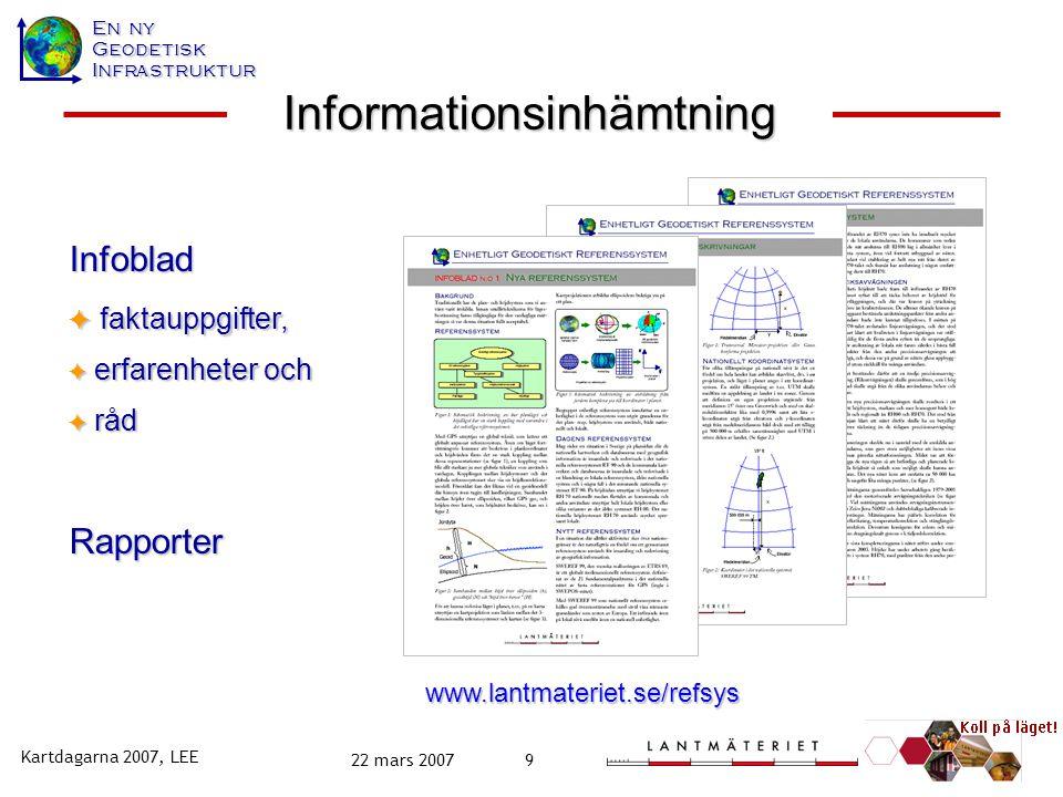 En ny GeodetiskInfrastruktur Kartdagarna 2007, LEE 22 mars 20079 www.lantmateriet.se/refsys Infoblad  faktauppgifter,  erfarenheter och  råd Rappor