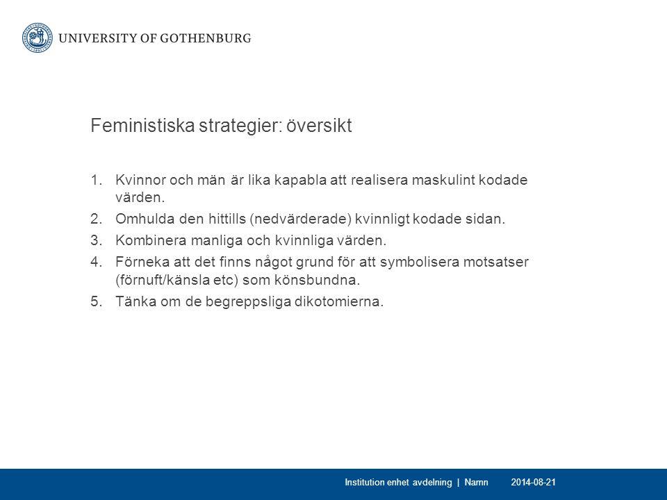 Feministiska strategier: översikt 1.Kvinnor och män är lika kapabla att realisera maskulint kodade värden. 2.Omhulda den hittills (nedvärderade) kvinn