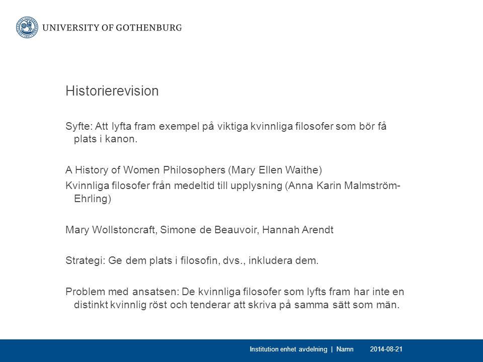 Historierevision Syfte: Att lyfta fram exempel på viktiga kvinnliga filosofer som bör få plats i kanon. A History of Women Philosophers (Mary Ellen Wa