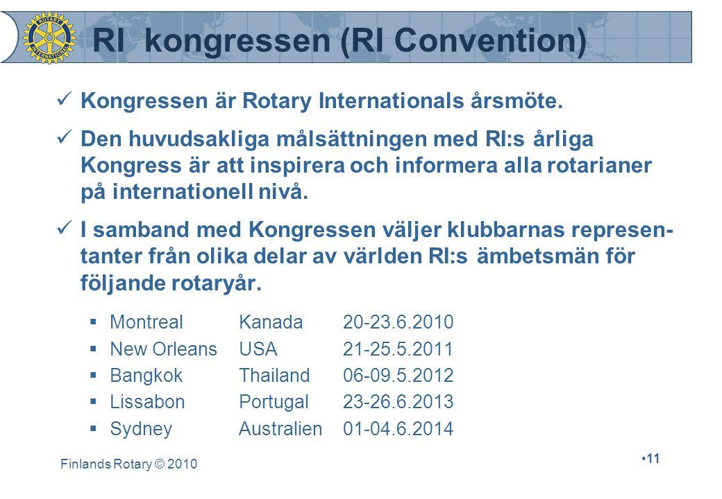 Finlands Rotary © 2010 11 RI kongressen (RI Convention) Kongressen är Rotary Internationals årsmöte.