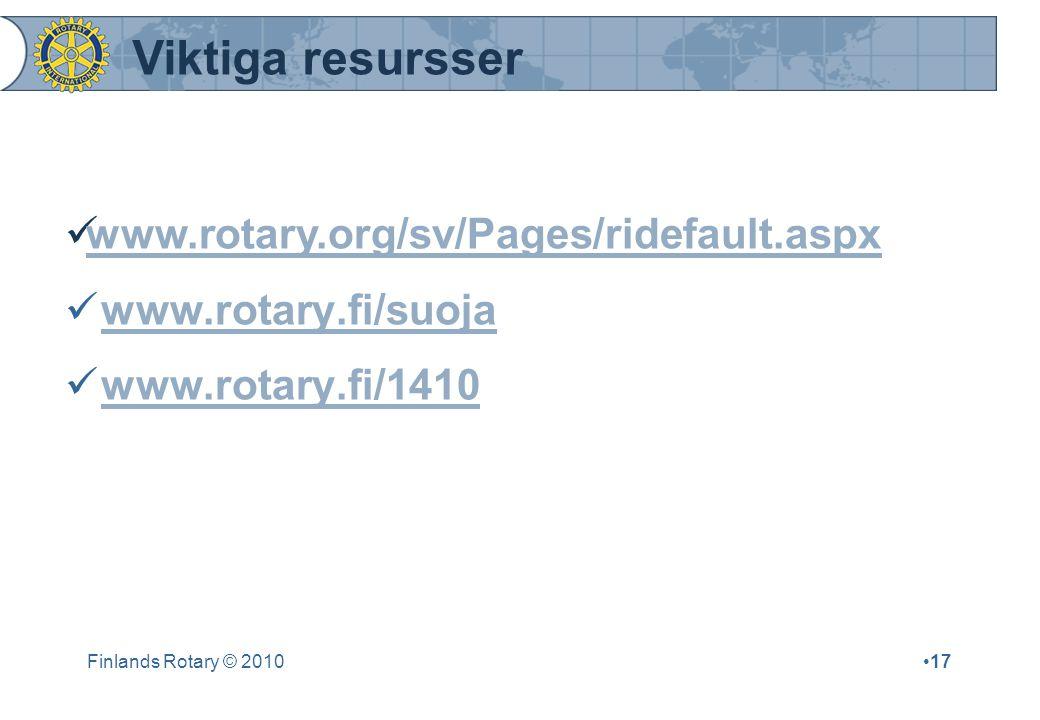 Finlands Rotary © 201017 Viktiga resursser www.rotary.org/sv/Pages/ridefault.aspx www.rotary.fi/suoja www.rotary.fi/1410