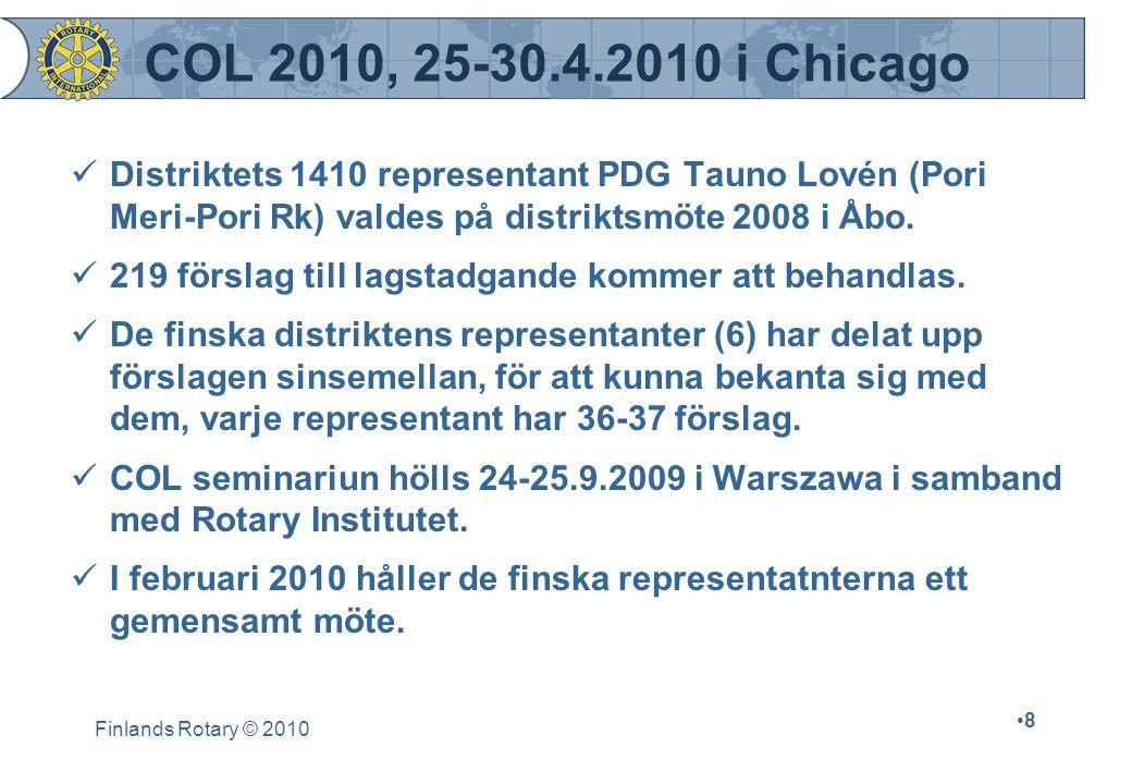 Finlands Rotary © 2010 8 COL 2010, 25-30.4.2010 i Chicago Distriktets 1410 representant PDG Tauno Lovén (Pori Meri-Pori Rk) valdes på distriktsmöte 2008 i Åbo.